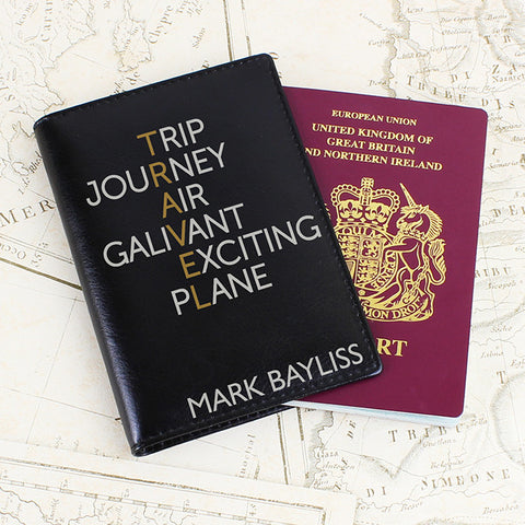 Buy Personalised Travel Black Passport Holder