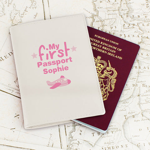 Buy Personalised My First Cream Passport Holder