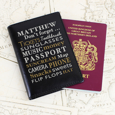 Personalised Dont Forget... Black Passport Holder - Shane Todd Gifts UK