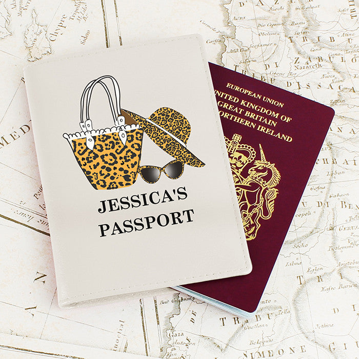Personalised Leopard Print Cream Passport Holder, Luggage & Bags by Gifts24-7