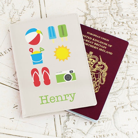 Buy Personalised Bright Travel Cream Passport Holder