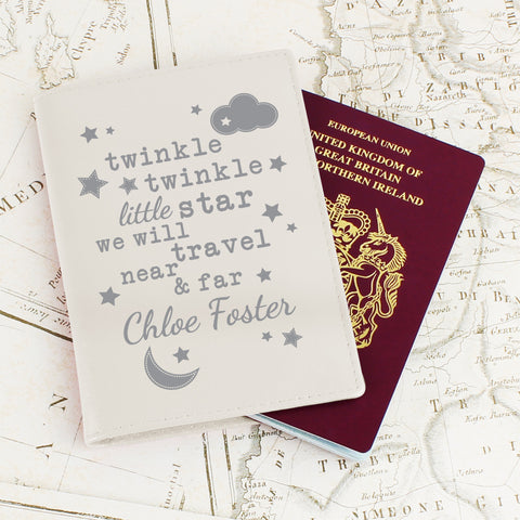 Personalised Twinkle Twinkle Cream Passport Holder - Shane Todd Gifts UK