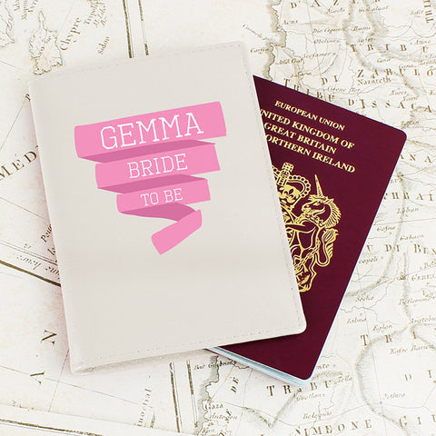 Buy Personalised Pink Banner Cream Passport Holder