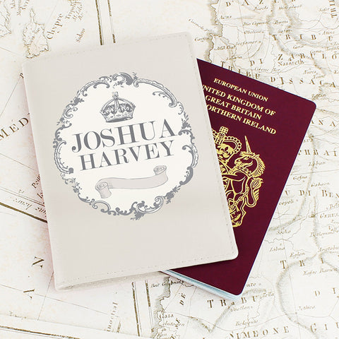 Personalised Royal Crown Cream Passport Holder | ShaneToddGifts.co.uk