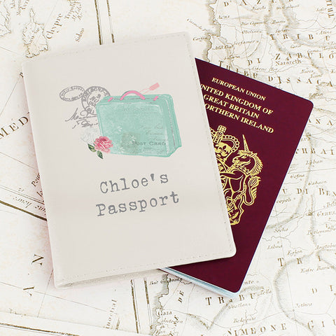 Buy Personalised Vintage Pastel Travel Cream Passport Holder
