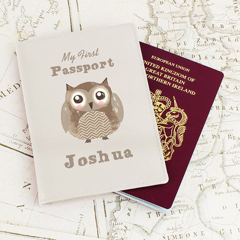 Buy Personalised Cute Owl Cream Passport Holder