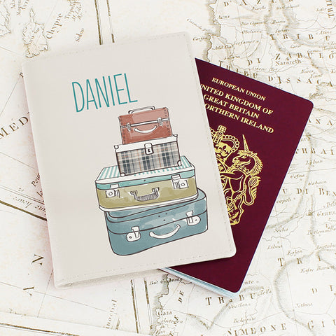 Buy Personalised Suitcases Cream Passport Holder