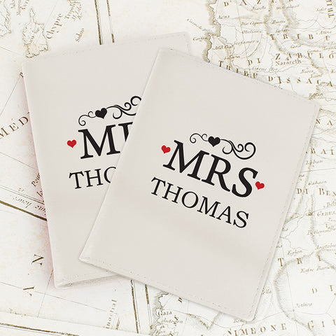 Personalised Mr & Mrs Cream Passport Holders - Shane Todd Gifts UK