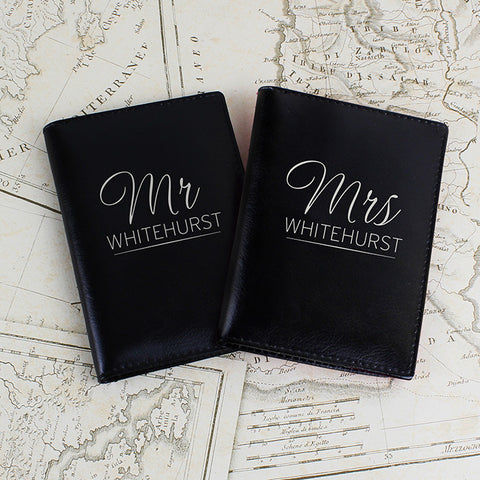 Personalised Mr & Mrs Black Passport Holders - Shane Todd Gifts UK