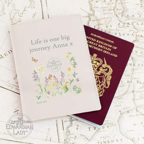 Buy Personalised Country Diary Wild Flowers Cream Passport Holder