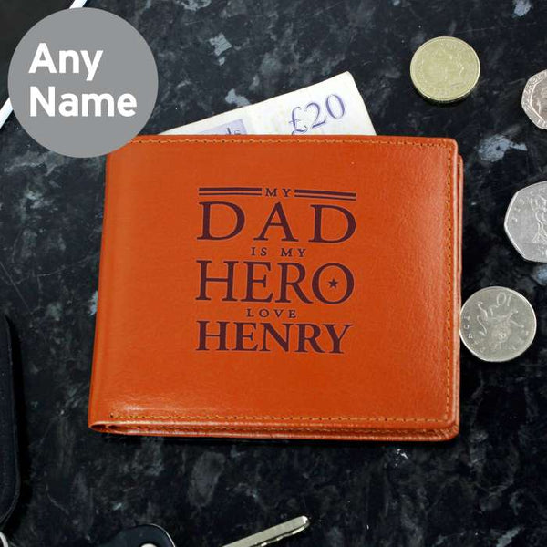 personalised-my-dad-is-my-hero-tan-leather-wallet
