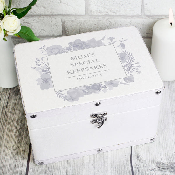 Buy Personalised Soft Watercolour White Leatherette Keepsake Box