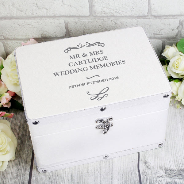 Buy Personalised Antique Scroll White Leatherette Keepsake Box