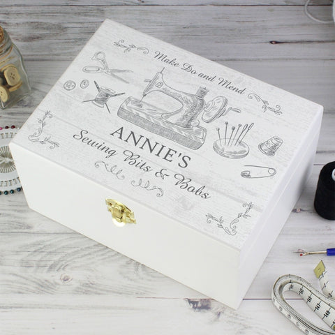 Personalised Sewing Kit White Wooden Keepsake Box | ShaneToddGifts.co.uk