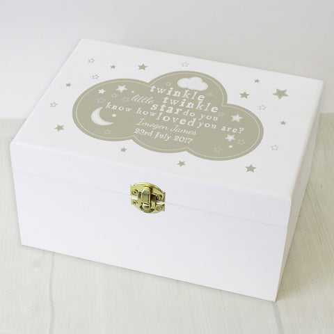 Buy Personalised Twinkle Twinkle White Wooden Keepsake Box