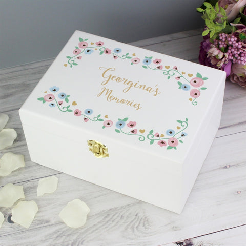 Buy Personalised Fairytale Floral White Wooden Keepsake Box