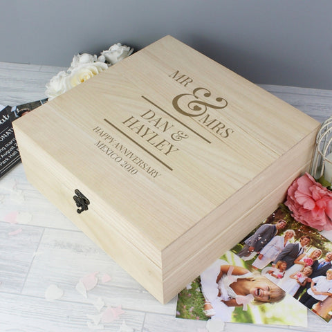 Buy Personalised Mr & Mrs Large Wooden Keepsake Box
