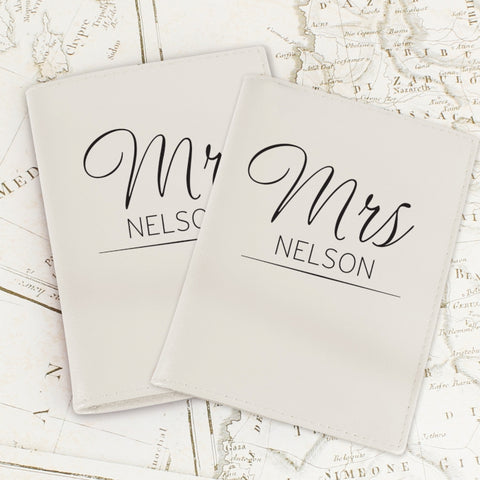 Personalised Mr & Mrs Cream Passport Holders | ShaneToddGifts.co.uk