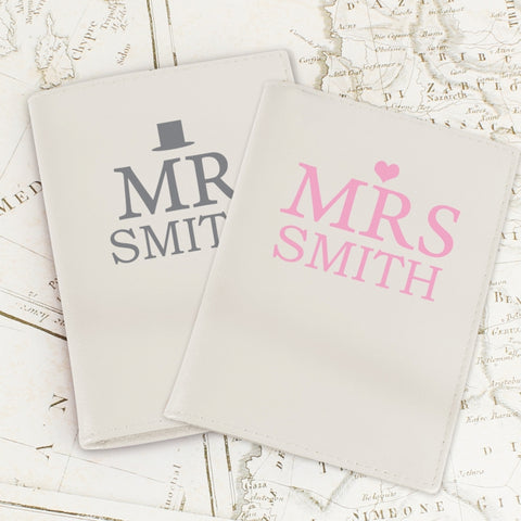 Buy Personalised Mr & Mrs Top Hat Cream Passport Holders