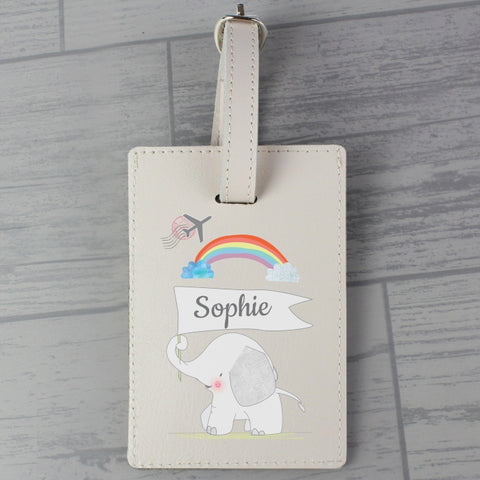 Buy Personalised Elephant Cream Luggage Tag