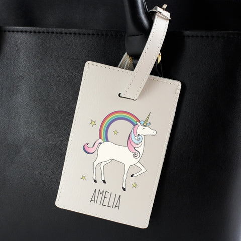 Buy Personalised Unicorn Cream Luggage Tag