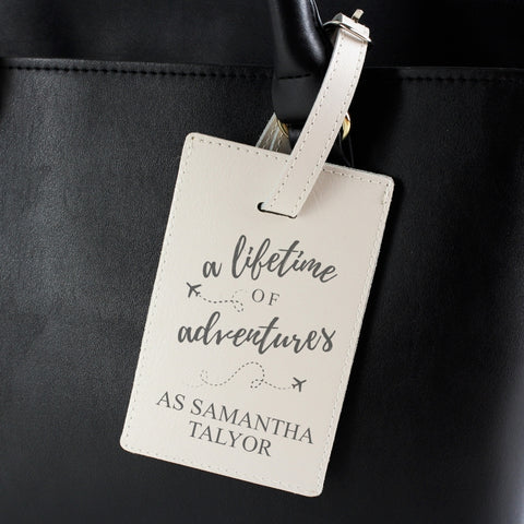 Personalised 'Lifetime of Advertures' Cream Luggage Tag