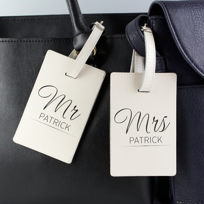 Personalised Couples Classic Cream Luggage Tags, Luggage & Bags by Low Cost Gifts