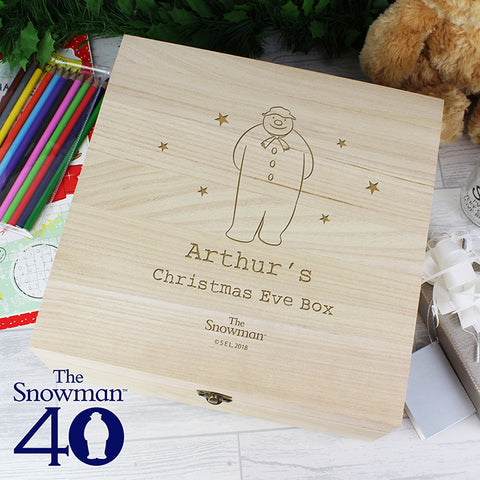 Buy Personalised The Snowman Large Wooden Christmas Eve Box