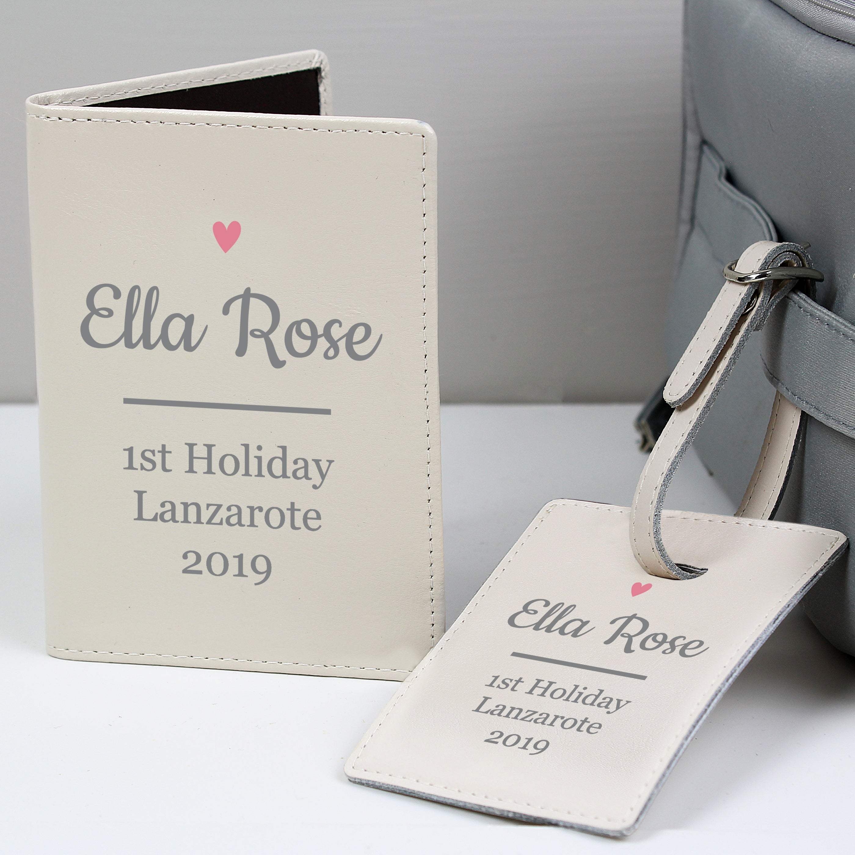 Personalised Pink Heart Cream Passport Holder & Luggage Tag Set, Luggage & Bags by Low Cost Gifts