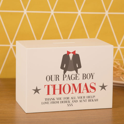 Personalised Our Page Boy Thank You Money Box