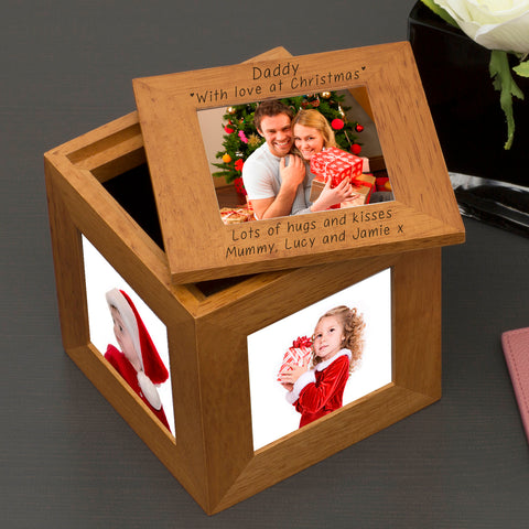 Christmas Personalised Oak Photo Cube - Daddy | Gifts24-7.co.uk