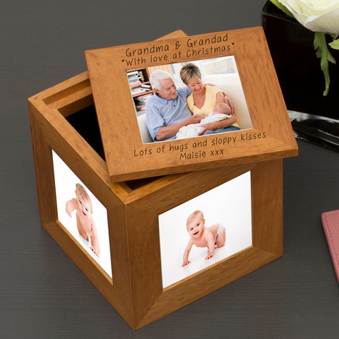 Love at Christmas Personalised Oak Photo Cube - | Gifts24-7.co.uk