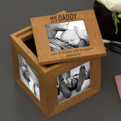Oak Photo Cube - Me and Daddy - Shane Todd Gifts UK