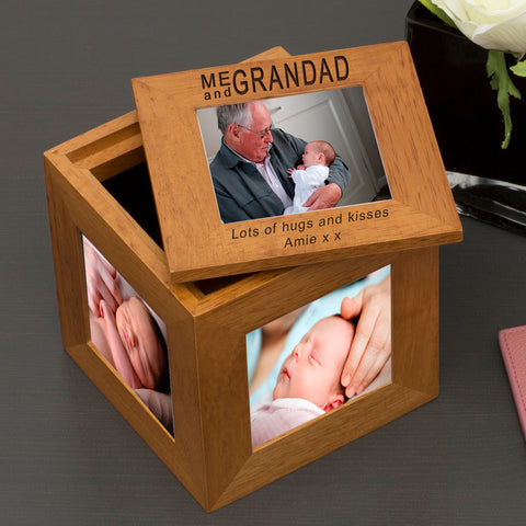 Oak Photo Cube Me and Grandad | ShaneToddGifts.co.uk