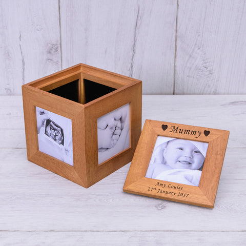 Oak Photo Cube Hearts | Gifts24-7.co.uk