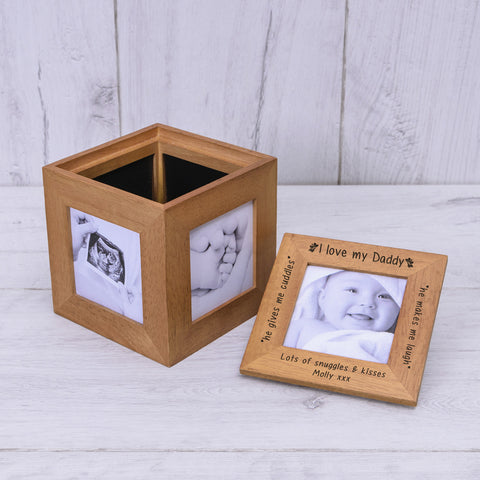 Oak Photo Cube - love Daddy - Shane Todd Gifts UK