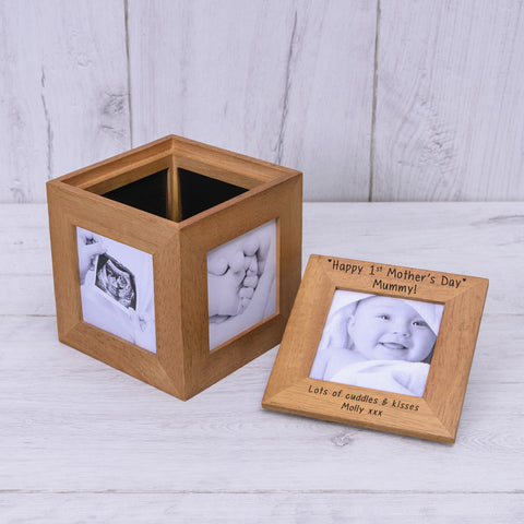 Oak Photo Cube - Happy 1st Mothers Day | Gifts24-7.co.uk