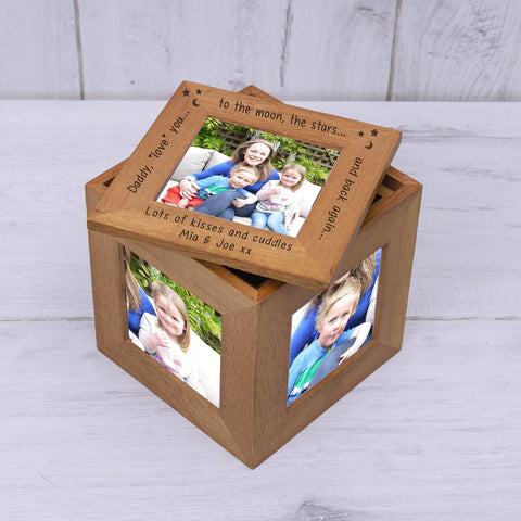 Personalised Oak Photo Cube Daddy love you - Shane Todd Gifts UK