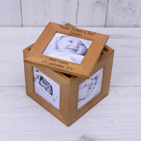 Oak Photo Cube Happy Fathers Day | Gifts24-7.co.uk