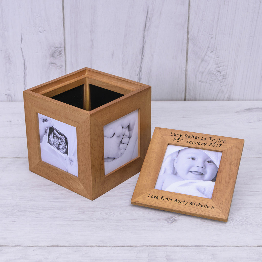Personisled Oak Photo Cube | Gifts24-7.co.uk