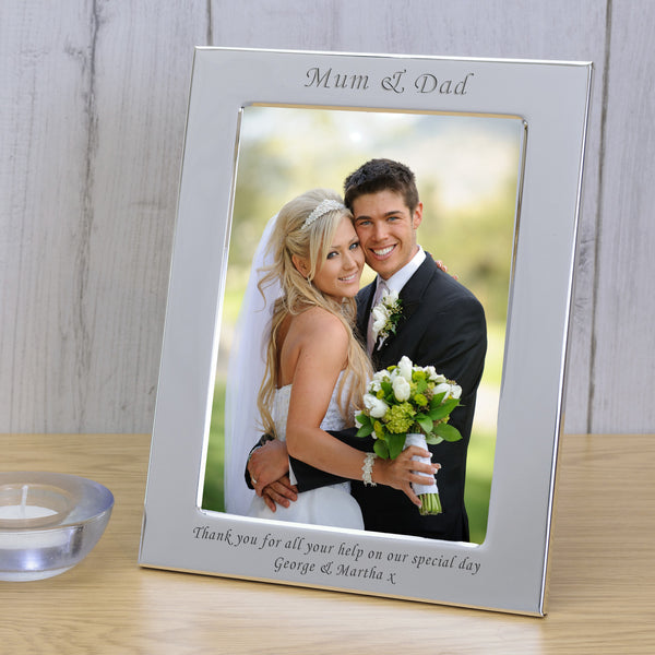7x5 Personalised Silver Plated Frame Mum & Dad - Gifts24-7.co.uk