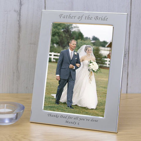 6X4 Silver Plated Frame Father of the Bride | Gifts24-7.co.uk