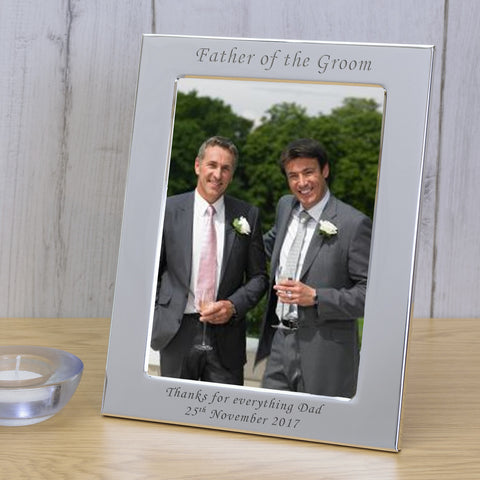7x5 Personalised Silver Plated Frame Father of the Groom - Gifts24-7.co.uk