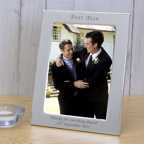 7x5 Personalised Silver Plated Frame Best Man - Gifts24-7.co.uk