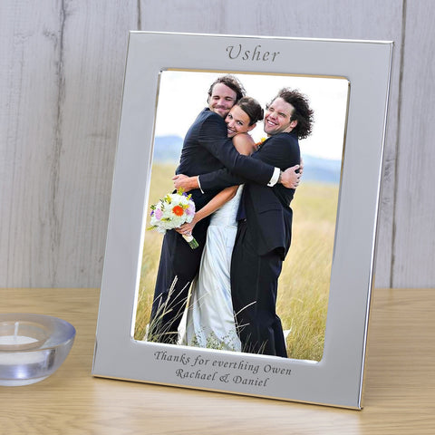 6x4 Personalised Silver Plated Frame Usher | Gifts24-7.co.uk