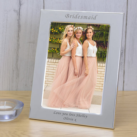7x5 Personalised Silver Plated Bridesmaid - Gifts24-7.co.uk