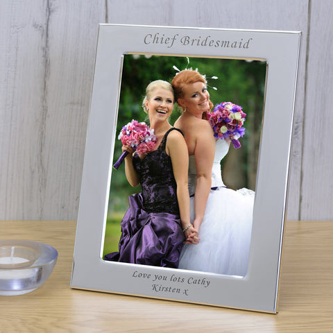 7x5 Personalised Silver Plated Chief Bridesmaid - Gifts24-7.co.uk