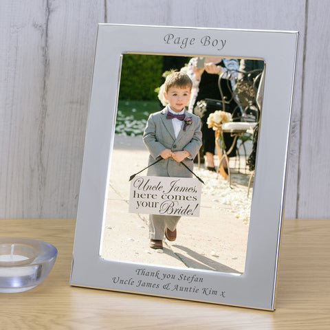 6x4 Personalised Silver Plated Frame Page Boy | Gifts24-7.co.uk