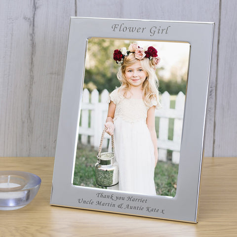 6x4 Personalised Silver Plated Frame Flower Girl | Gifts24-7.co.uk
