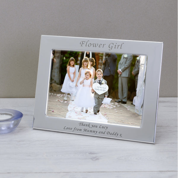 7x5 Personalised Silver Plated Flower Girl - Gifts24-7.co.uk